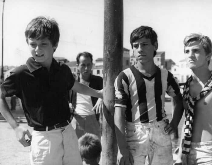 """Scene from the movie """" Augustine """" - Directed by Mauro Bolognini - 1962 - Actor Paul Colombo with other children"""