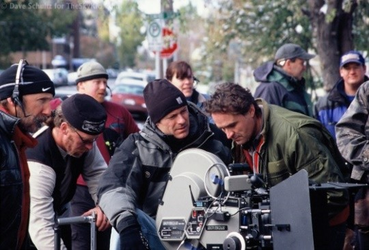 Jet Boy - (L) DOP Brian Whittred converses with Director Dave Schultz (R)