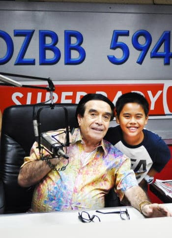 Sam and Mr. Moreno at his Radio Station