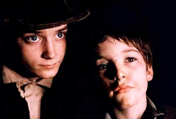 Alex Trench and Elijah Wood in Oliver Twist