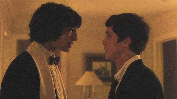 Ezra Miller as Patrick and Logan Lerman as Charlie.